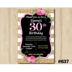 Adult Rose Stripe Invitation