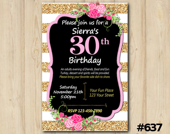 Adult Rose Stripe Invitation | Personalized Digital Card