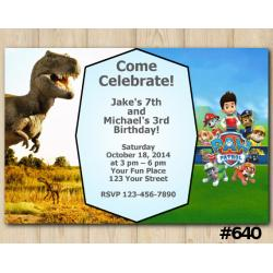 Twin Dinosaur and Paw Patrol Invitation