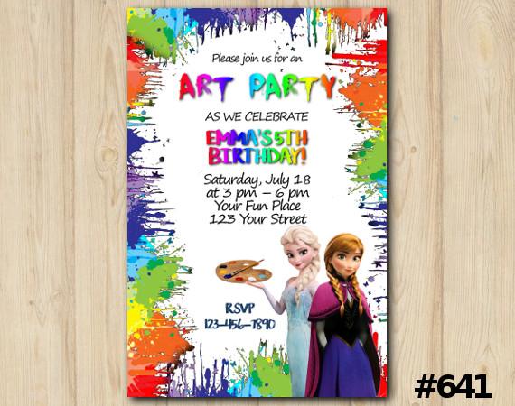 Frozen Art Party Invitation | Personalized Digital Card