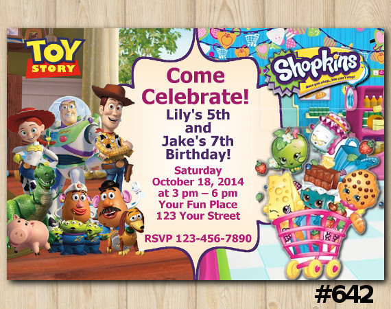Twin Toy Storry and Shopkins Invitation   Personalized Digital Card