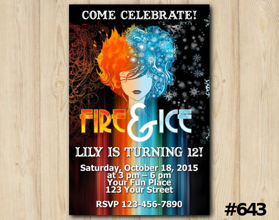 Fire and Ice Invitation   Personalized Digital Card