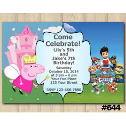 Twin Peppa Pig and Paw Patrol Invitation