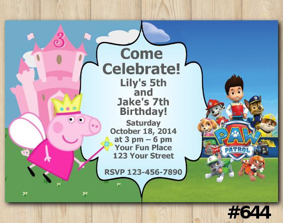 Twin Peppa Pig and Paw Patrol Invitation | Personalized Digital Card