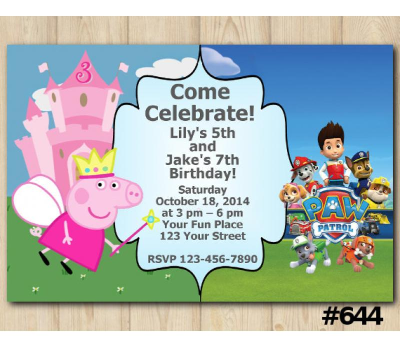 Twin Peppa Pig And Paw Patrol Birthday Invitation Joint Twin