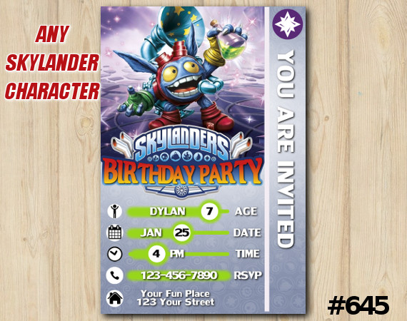Skylanders Popfizz Game Card Invitation | PopFizz | Personalized Digital Card