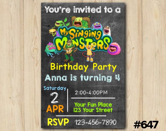 My Singing Monsters Invitation | Personalized Digital Card