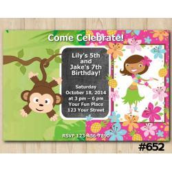 Twin Baby Monkey and Hawaiian Invitation