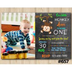 Baby Monkey Invitation with Photo