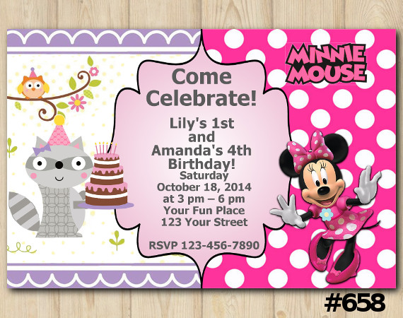 Twin Woodland and Minnie Mouse Invitation | Personalized Digital Card