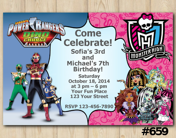 Twin Power Rangers and Monster High Invitation | Personalized Digital Card