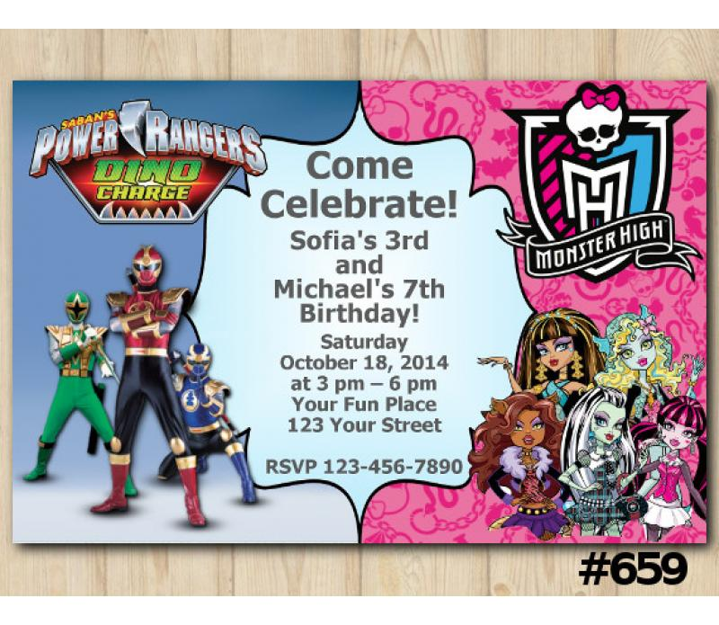 Twin Power Rangers and Monster High Birthday Invitation, Joint Twin ...
