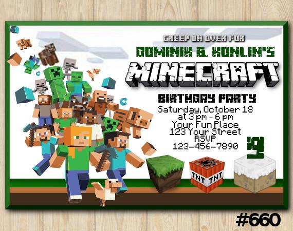 Minecraft Invitation | Personalized Digital Card