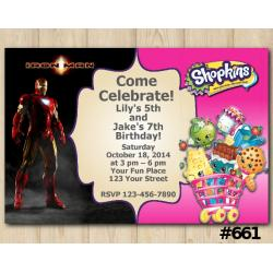 Twin Ironman and Shopkins Invitation