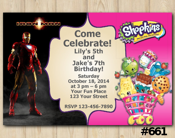 Twin Ironman and Shopkins Invitation | Personalized Digital Card