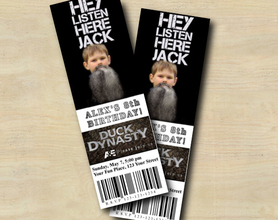 Duck Dynasty Ticket Invitation with Photo | Personalized Digital Card