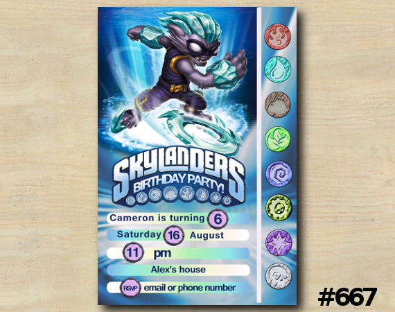Skylanders Game Card Invitation   FreezeBlade   Personalized Digital Card