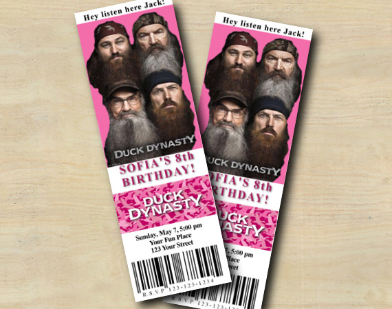 Duck Dynasty Pink Ticket Invitation | Personalized Digital Card
