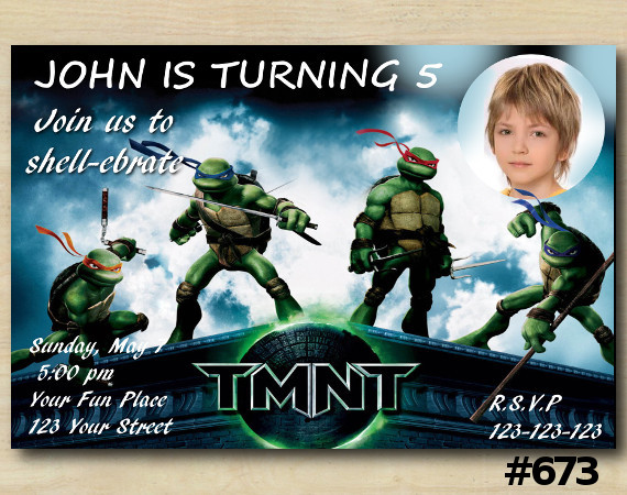TMNT Invitation with Photo | Personalized Digital Card