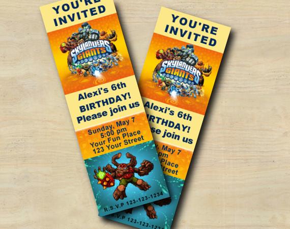 Skylanders Ticket Invitation | Gnarly Tree Rex | Personalized Digital Card