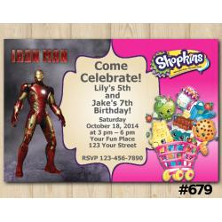 Twin Ironman and Shopkins Invitation