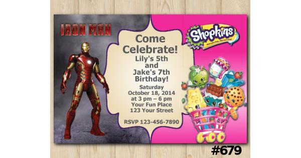 Twin Ironman And Shopkins Birthday Invitation Template
