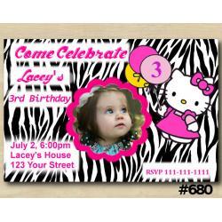 Hello Kitty Zebra Invitation with Photo