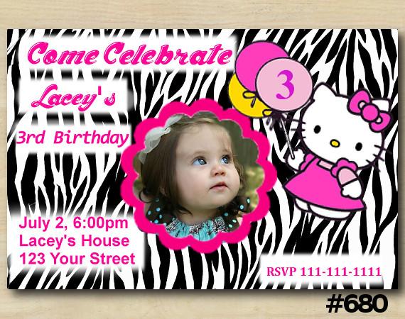 Hello Kitty Zebra Invitation with Photo | Personalized Digital Card