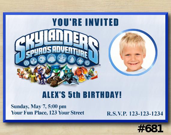Skylanders Invitation with Photo   Personalized Digital Card
