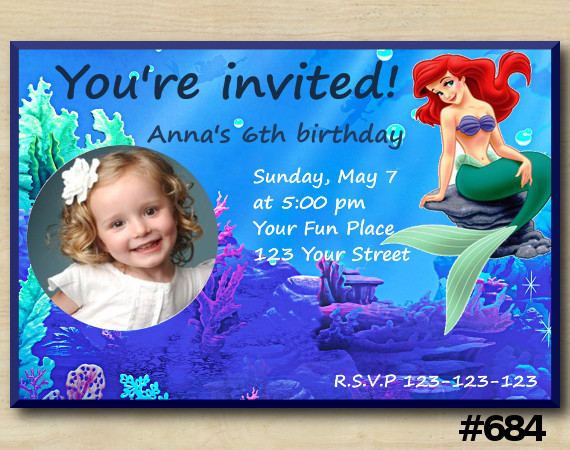 Ariel Invitation with Photo | Personalized Digital Card