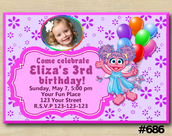 Abby Cadabby Invitation with Photo | Personalized Digital Card