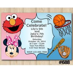 Twin Elmo, Minnie and Sport Invitation