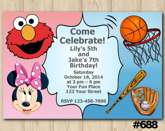 Twin Elmo, Minnie and Sport Invitation | Personalized Digital Card