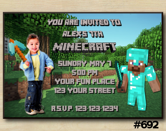 Minecraft Invitation with Photo | Personalized Digital Card