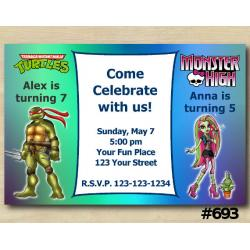 Twin TMNT and Monster High Invitation
