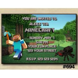 Minecraft Invitation | Steve, Spider