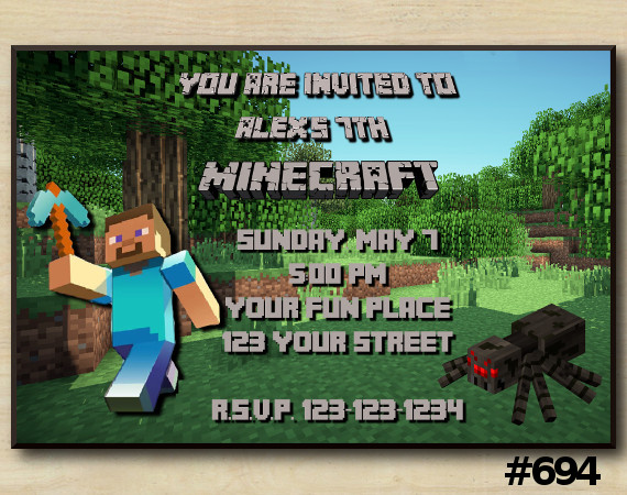Minecraft Invitation | Steve, Spider | Personalized Digital Card