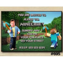 Minecraft Steve Invitation with Photo