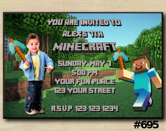 Minecraft Steve Invitation with Photo | Personalized Digital Card