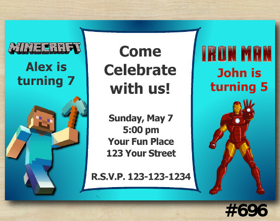 Twin Minecraft and Ironman Invitation | Personalized Digital Card