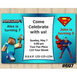 Twin Minecraft and Superman Invitation
