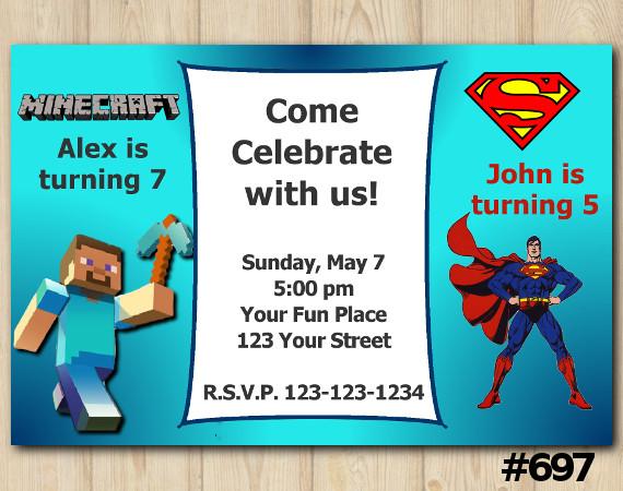 Twin Minecraft and Superman Invitation   Personalized Digital Card