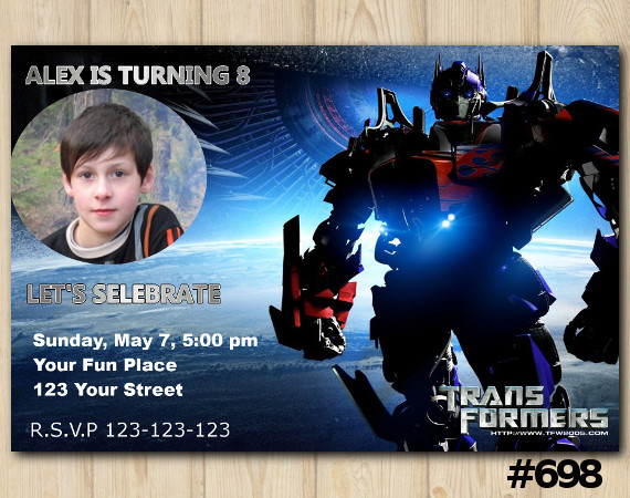 Transformers Invitation with Photo   Personalized Digital Card