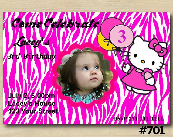 Hello Kitty Zebra Invitation with Photo   Personalized Digital Card
