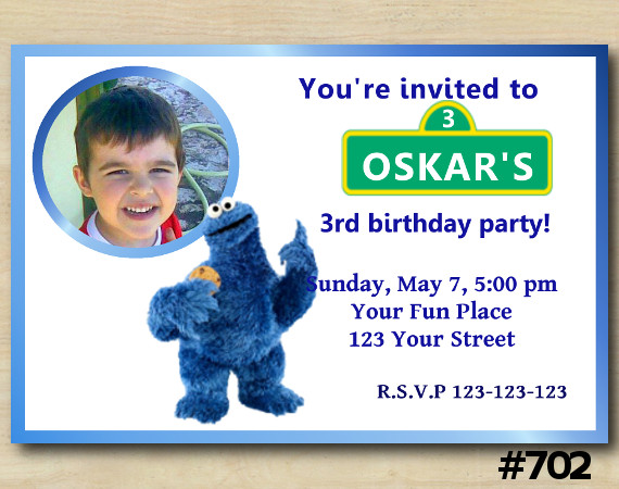 Cookie Monster Invitation with Photo | Personalized Digital Card