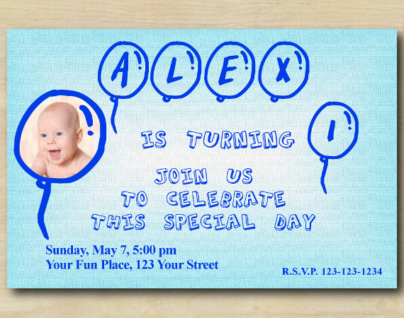 First Birthday Invitation with Photo | Personalized Digital Card