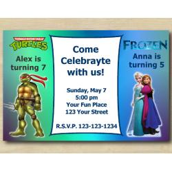 Twin TMNT and Frozen Invitation