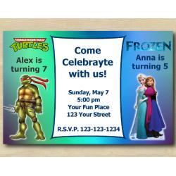 Twin TMNT and Frozen Invitation