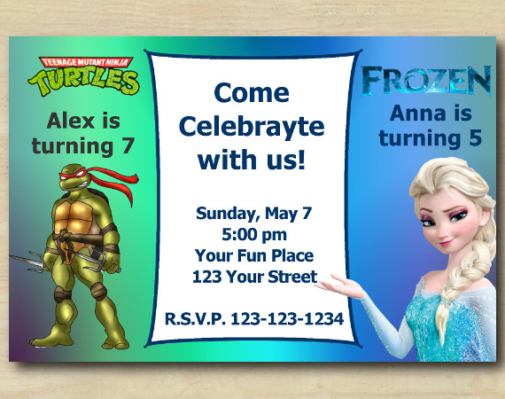 Twin TMNT and Frozen Invitation | Personalized Digital Card
