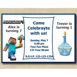 Twin Minecraft and First Birthday Invitation